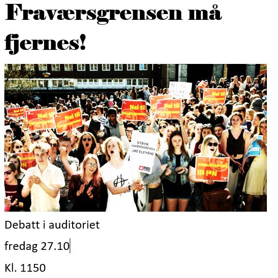 Plakat for 9. klasse-debatten i auditoriet